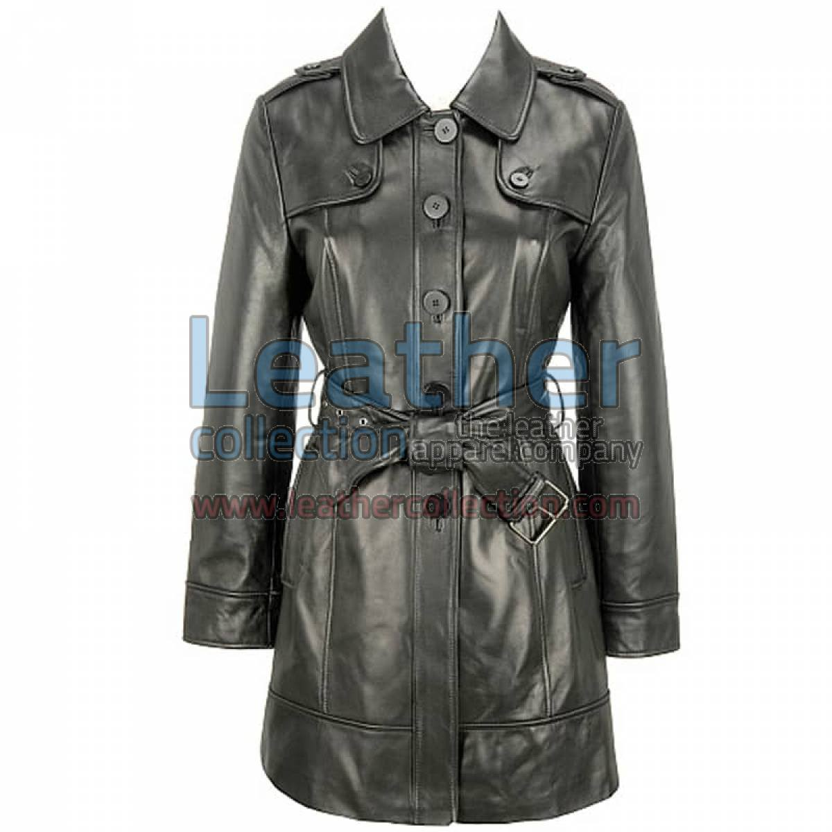 Black Lamb Belted Trench Coat with Thinsulate Lining