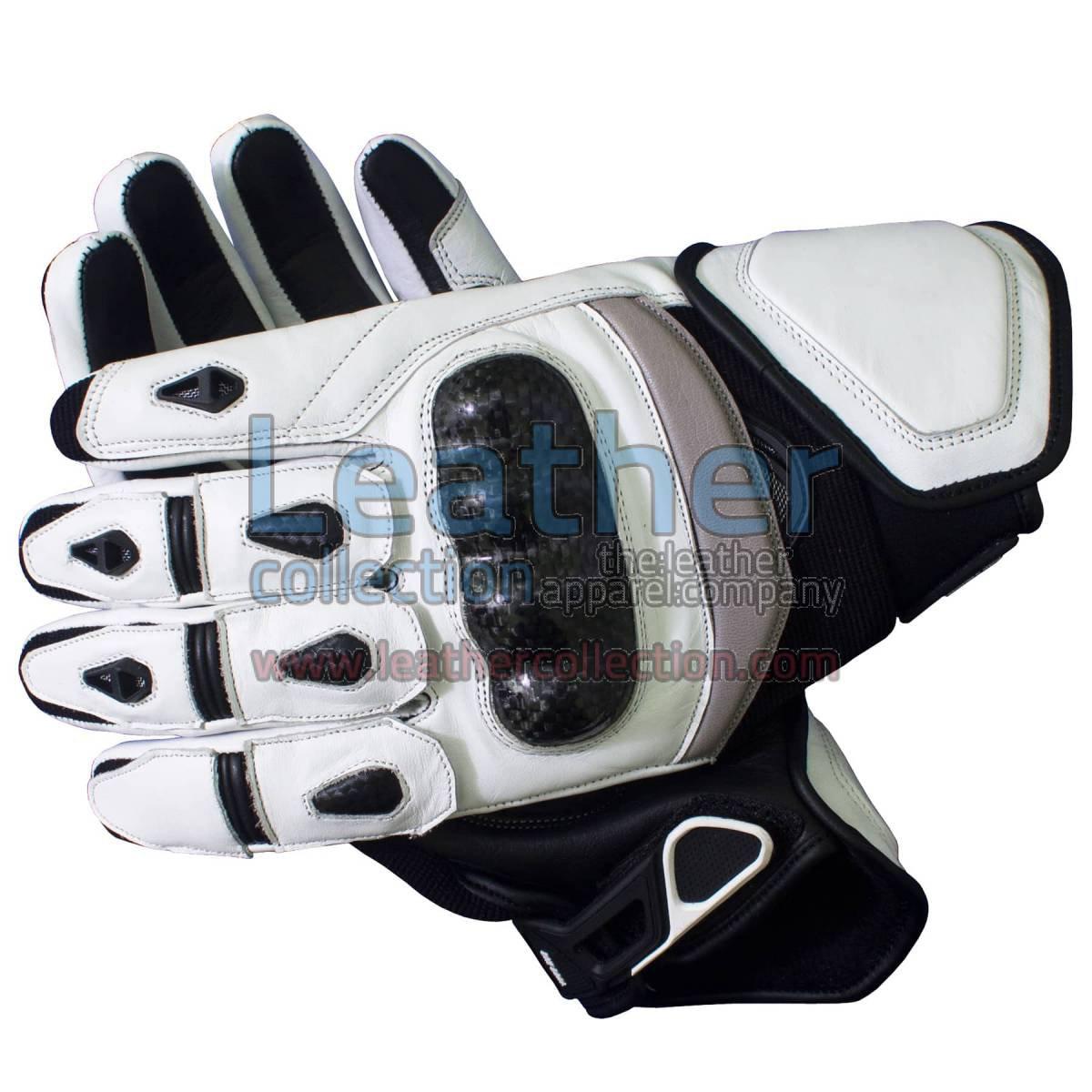 Black & White Short Motorcycle Gloves