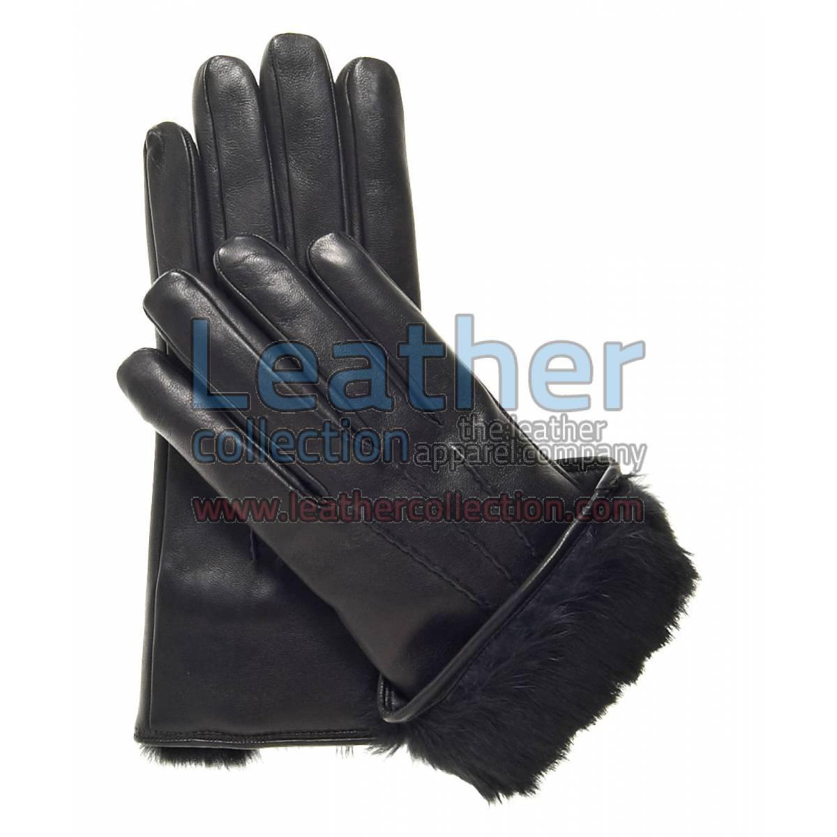 Black Fur Cuff Leather Gloves