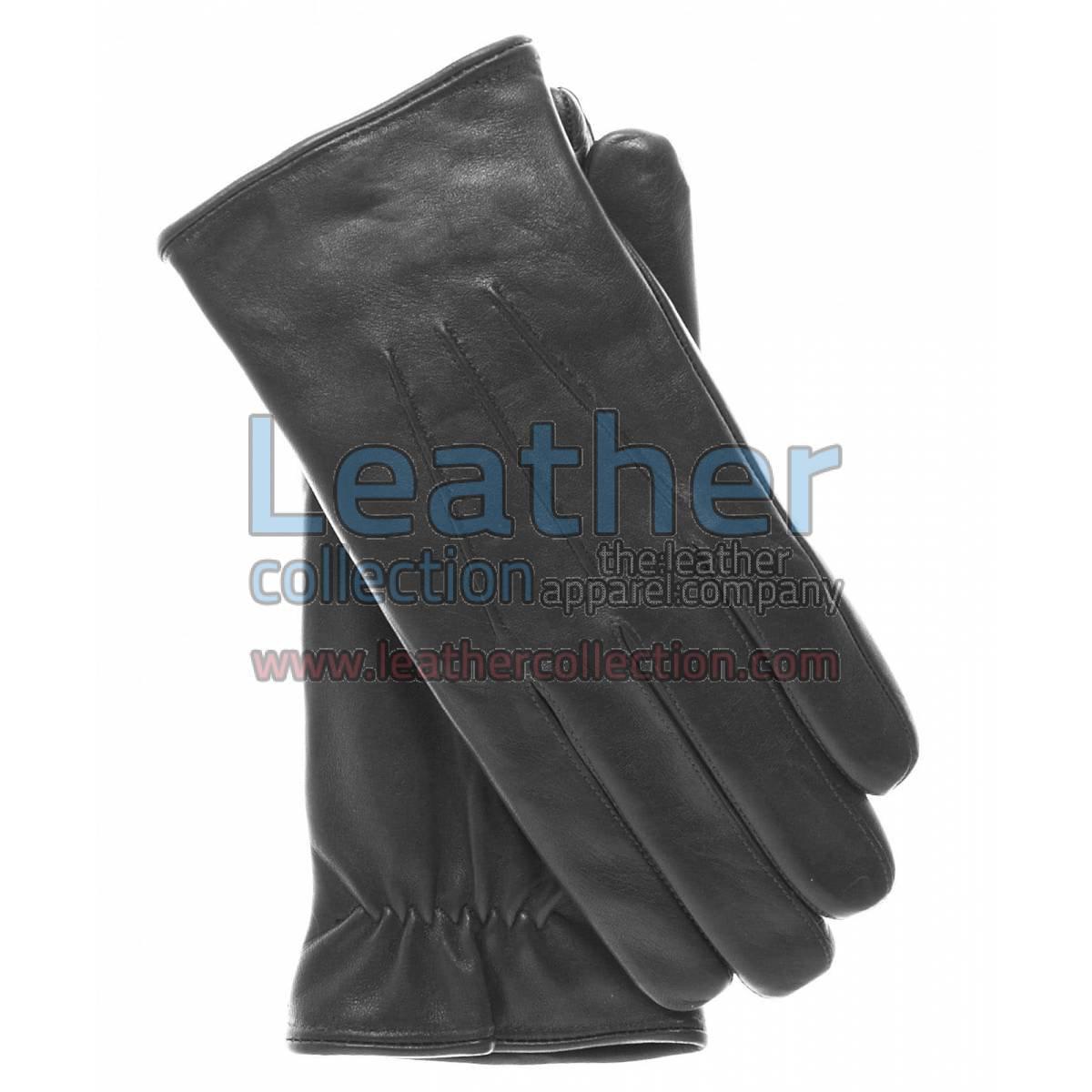 Black Lambskin Winter Leather Gloves