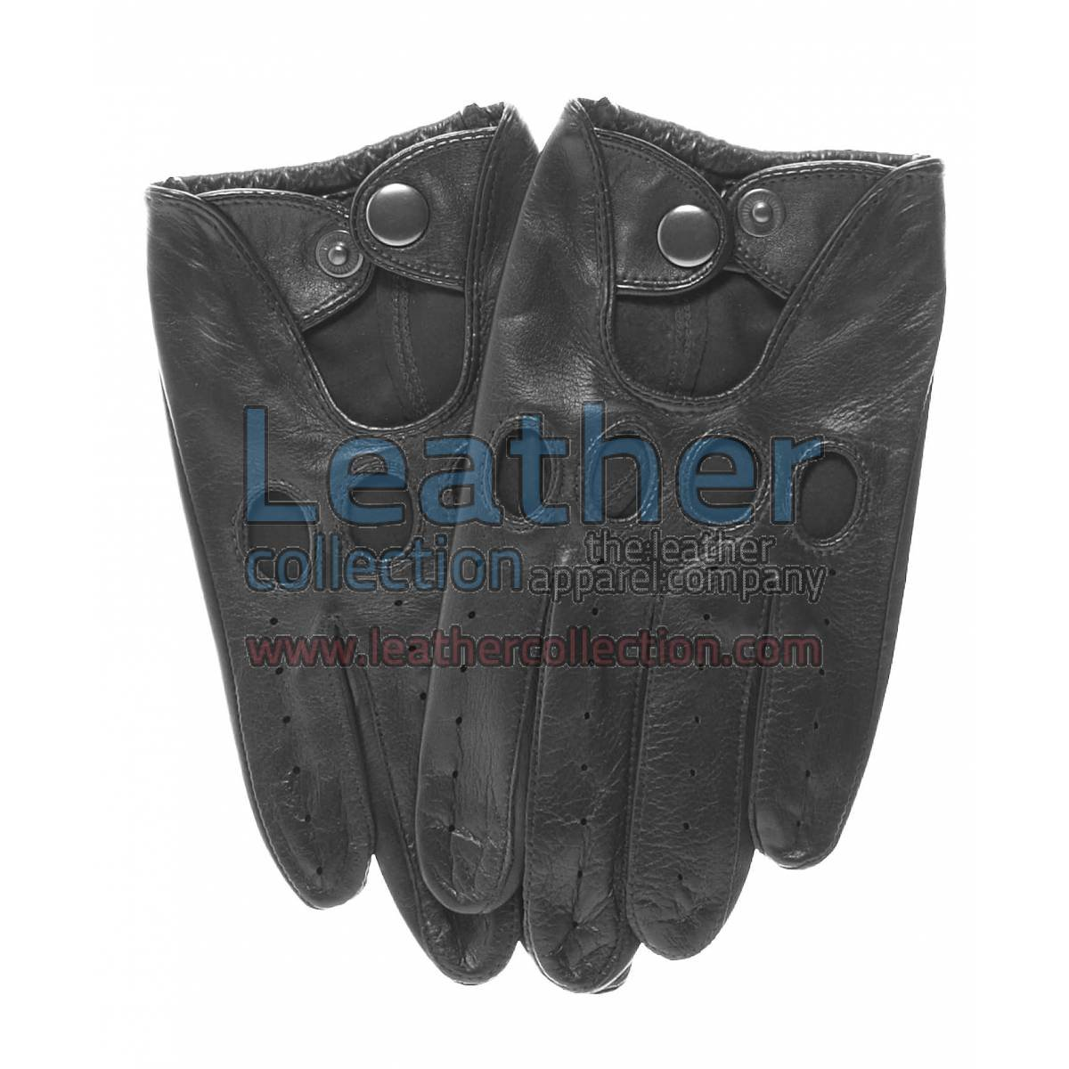 Black Leather Fashion Driving Gloves