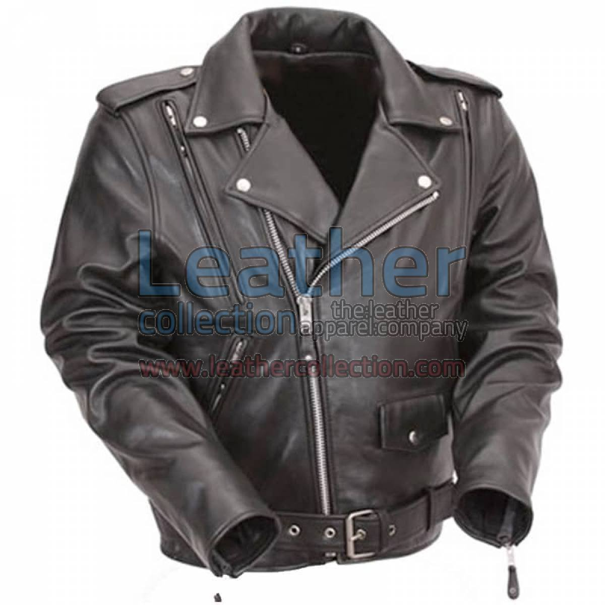 Black Leather Motorcycle Jacket with Exclusive Built-in Back Support