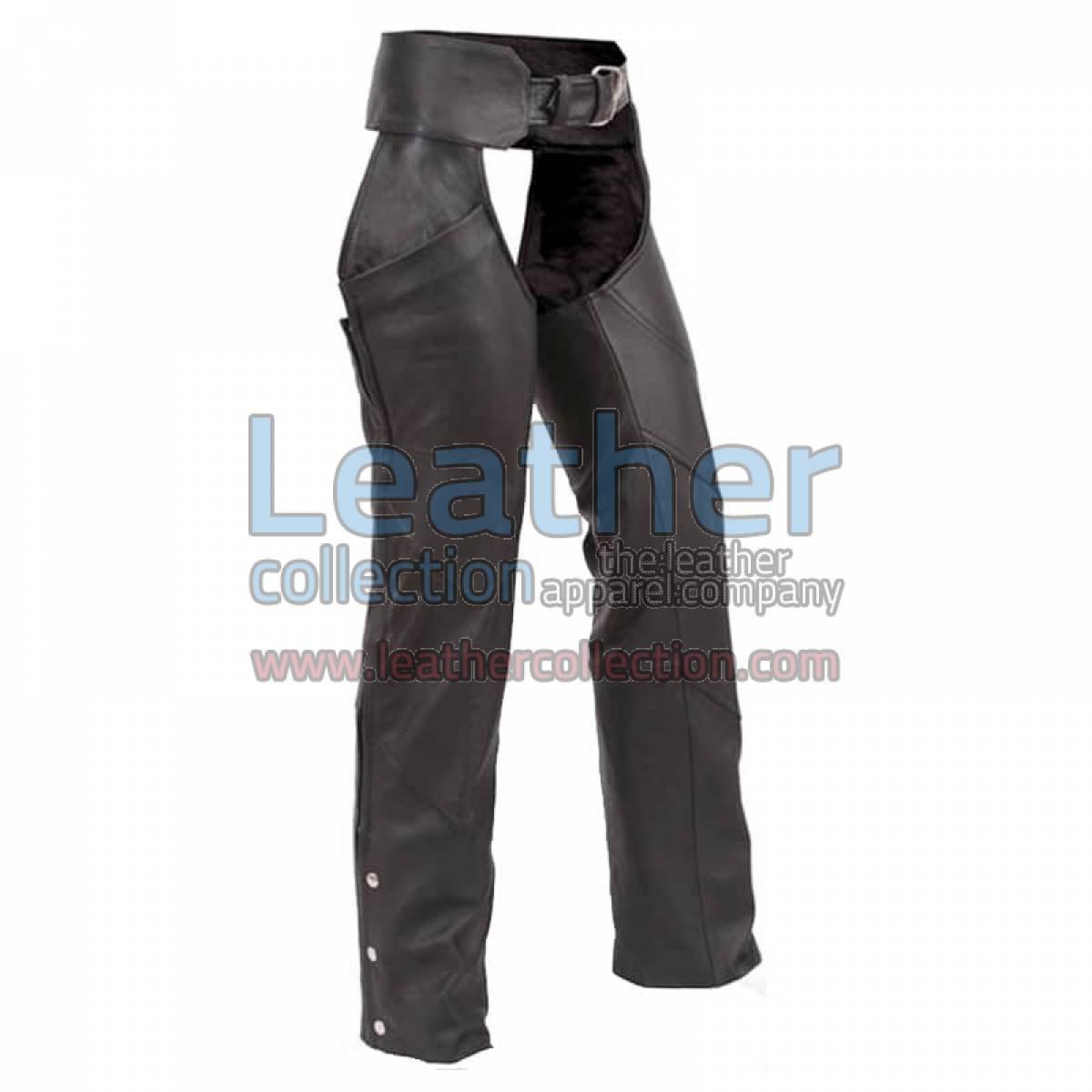 Black Premium Biker Leather Chaps