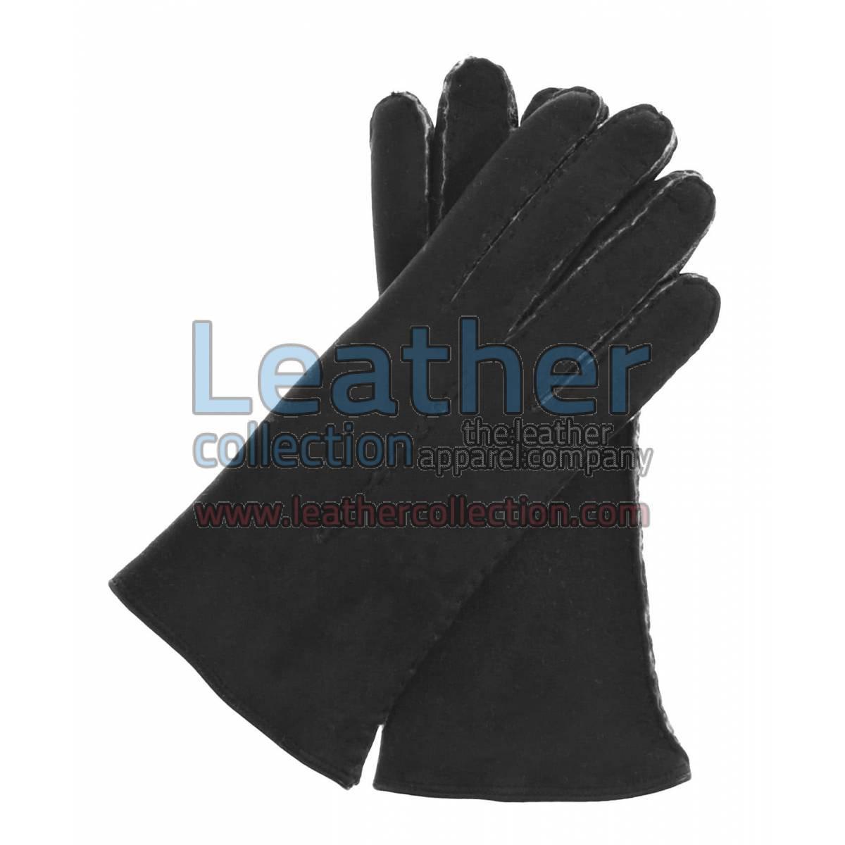 Black Suede Lamb Shearling Gloves Ladies