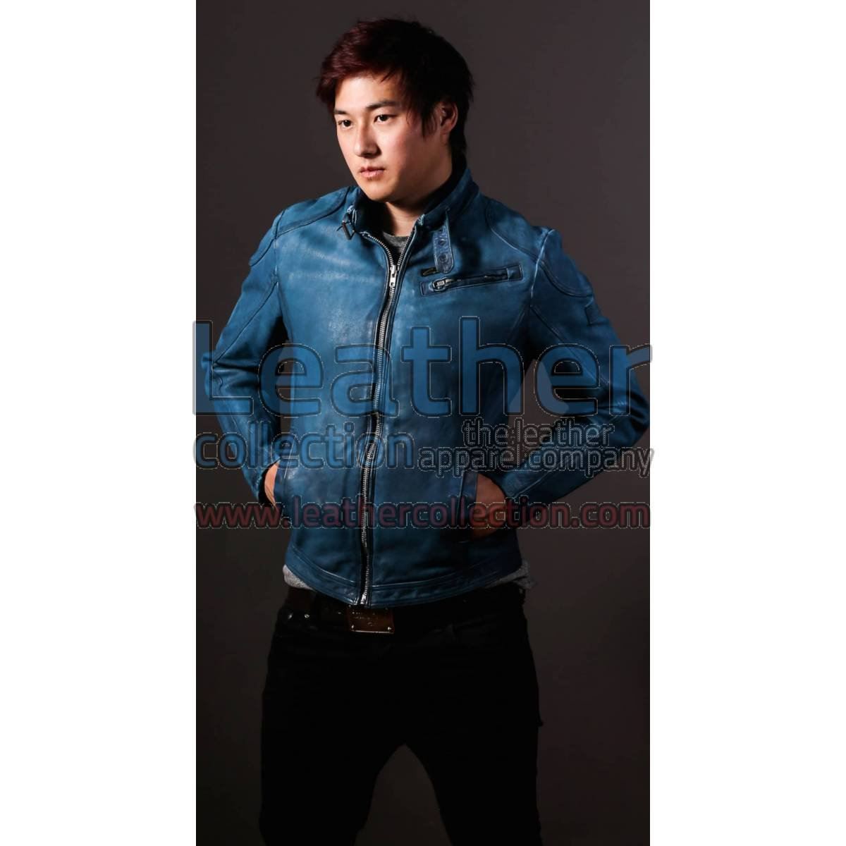 Blue Jazz Leather Jacket For Men
