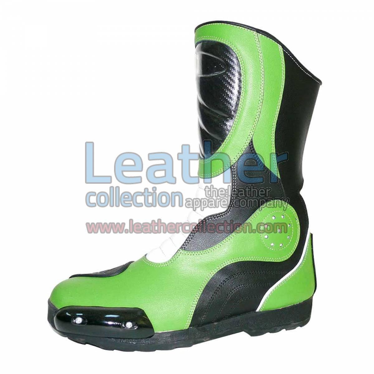 Bravo Green Leather Biker Boots
