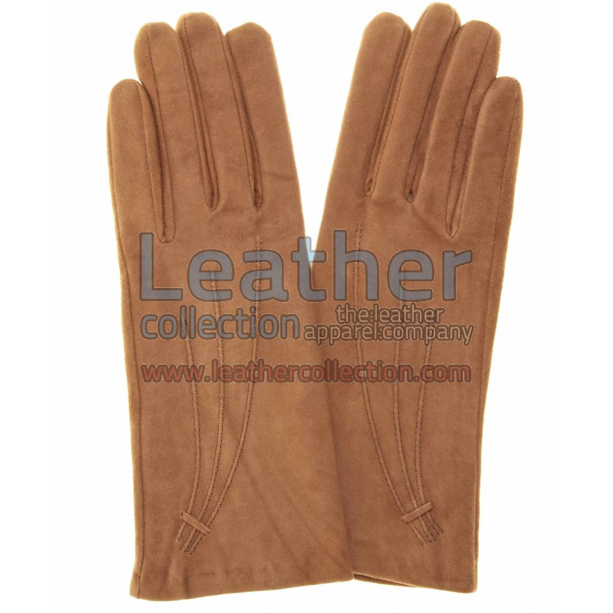 Brown Cashmere Lined Ladies Suede Gloves