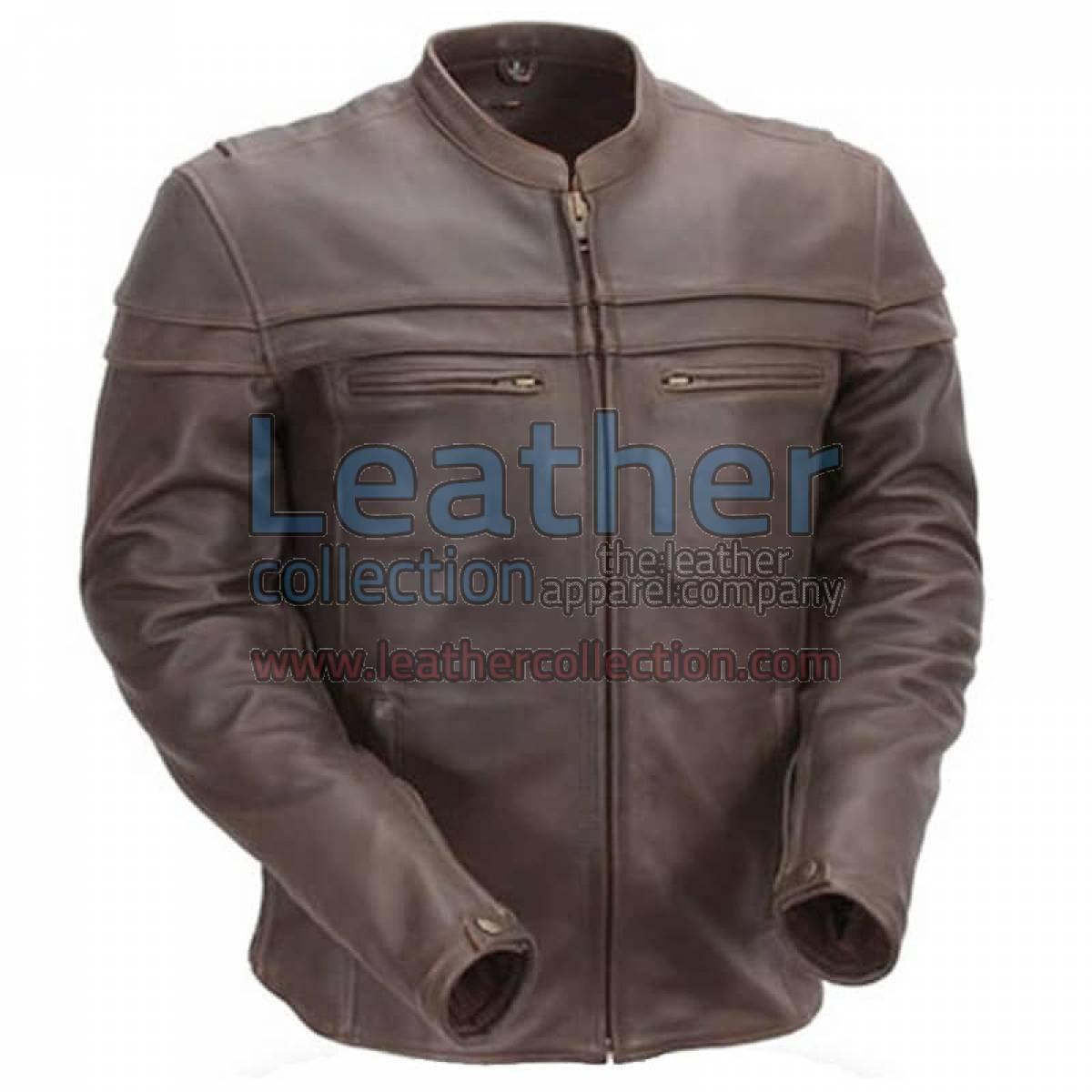 Brown Mandarin Collar Biker Leather Jacket