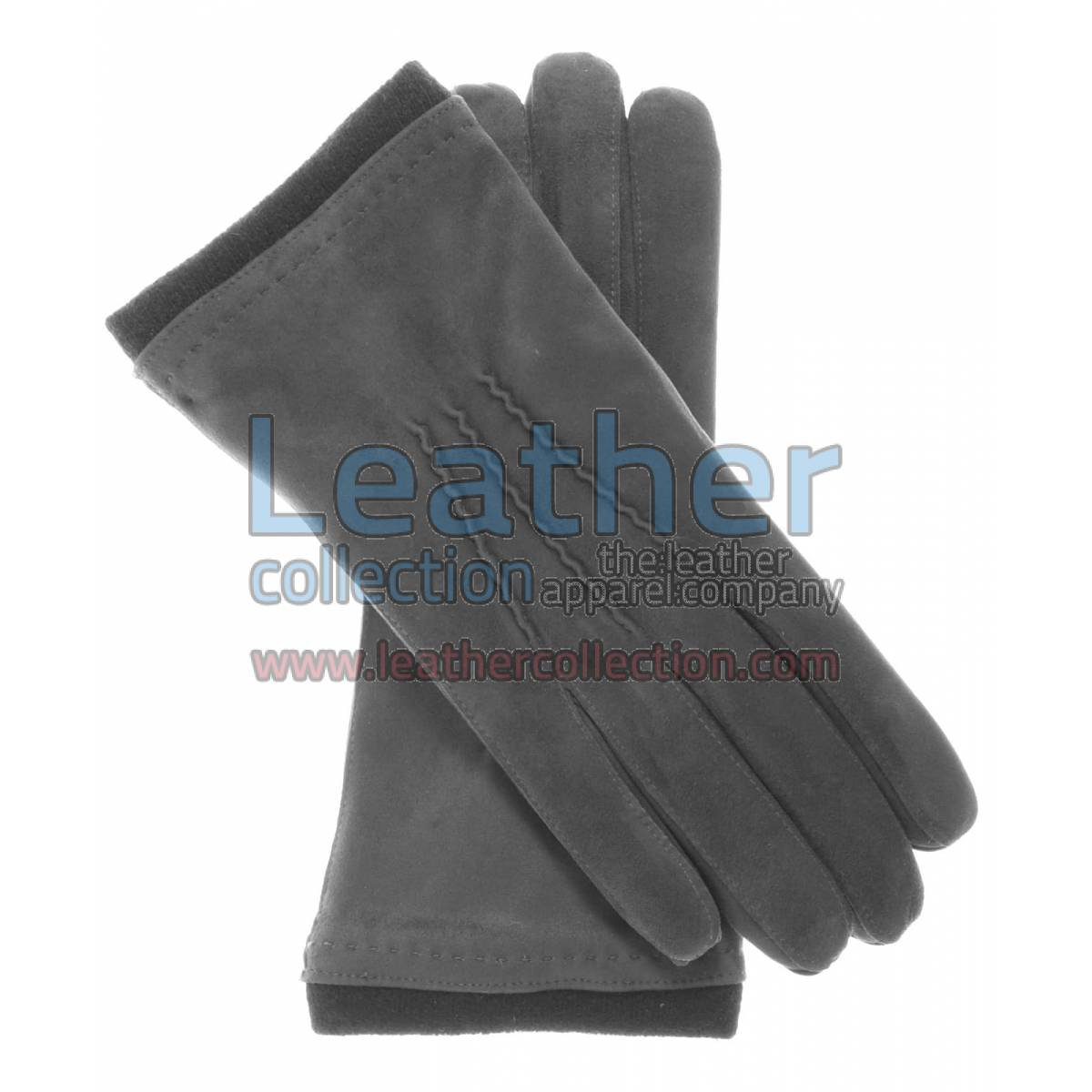 Cashmere Wool Lined Grey Suede Gloves
