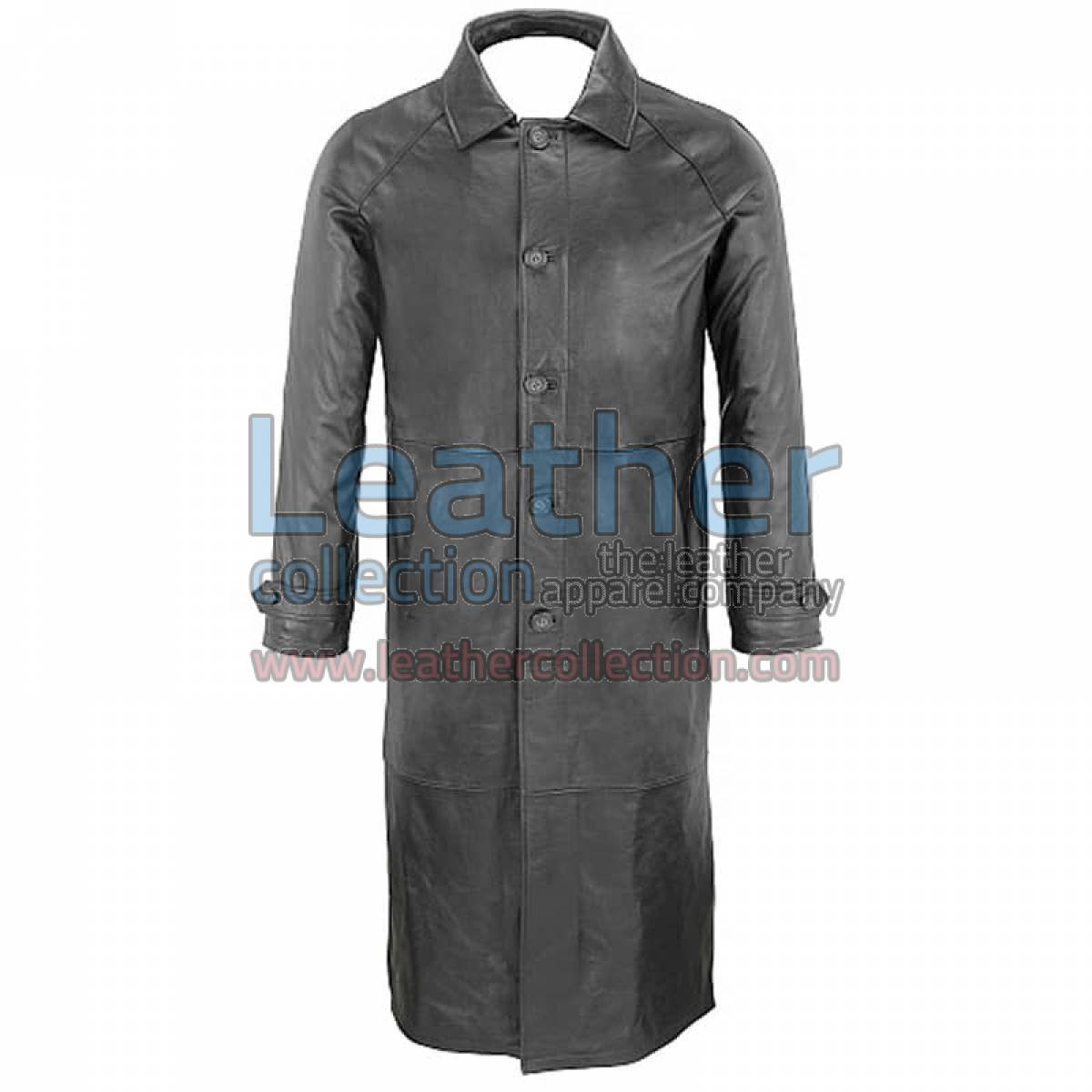 Classic Black Leather Trench Coat