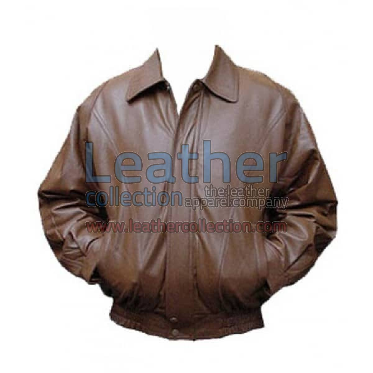 Classic Brown Bomber Leather Jacket