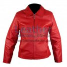 Classic Ladies Red Leather Jacket