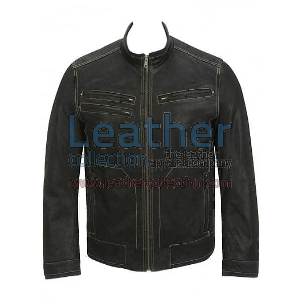 Contrast Stitches Black Moto Fashion Leather Jacket