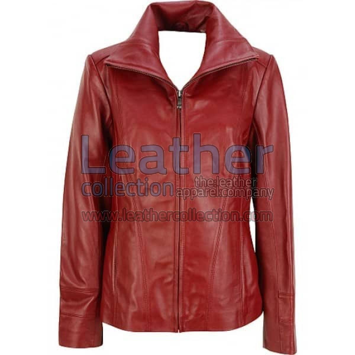 Dark Red Leather Fashion Jacket