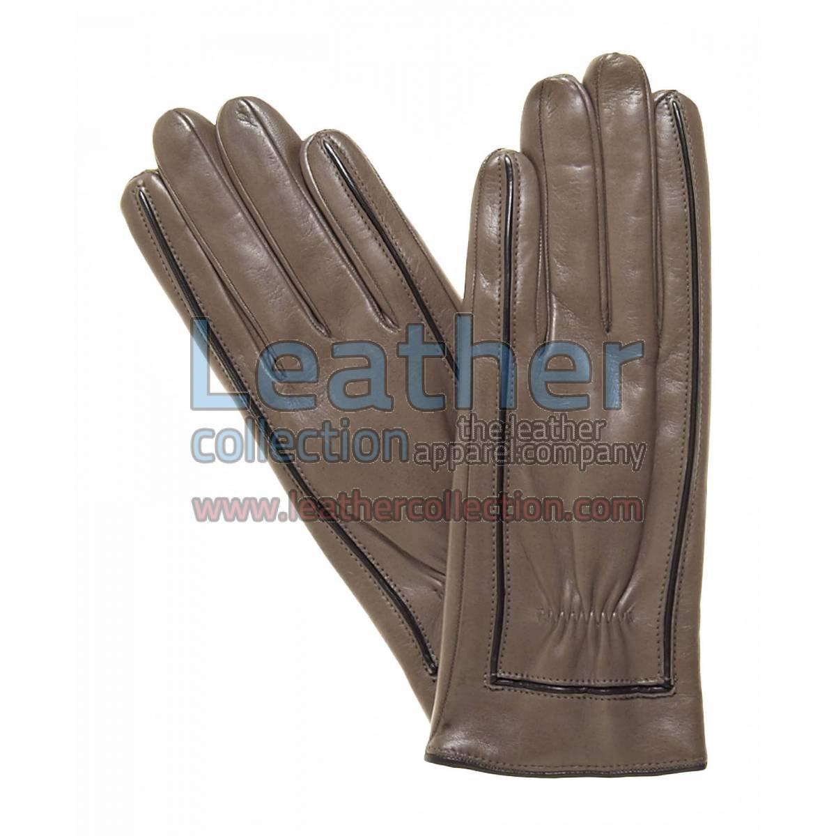 Decorative Stitching Ladies Brown Leather Gloves