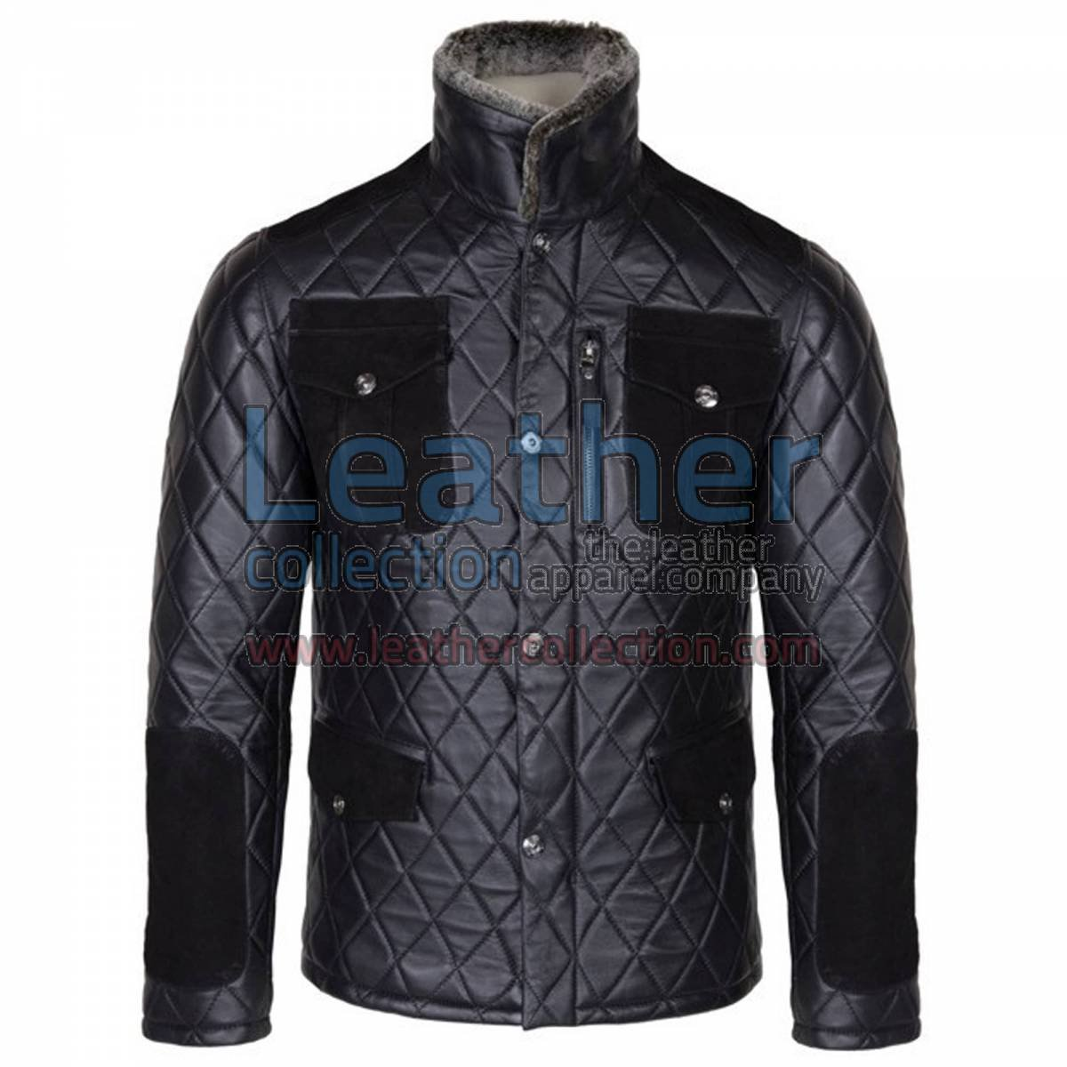 Diamond Leather Jacket with Fur Collar & Flapped Pockets