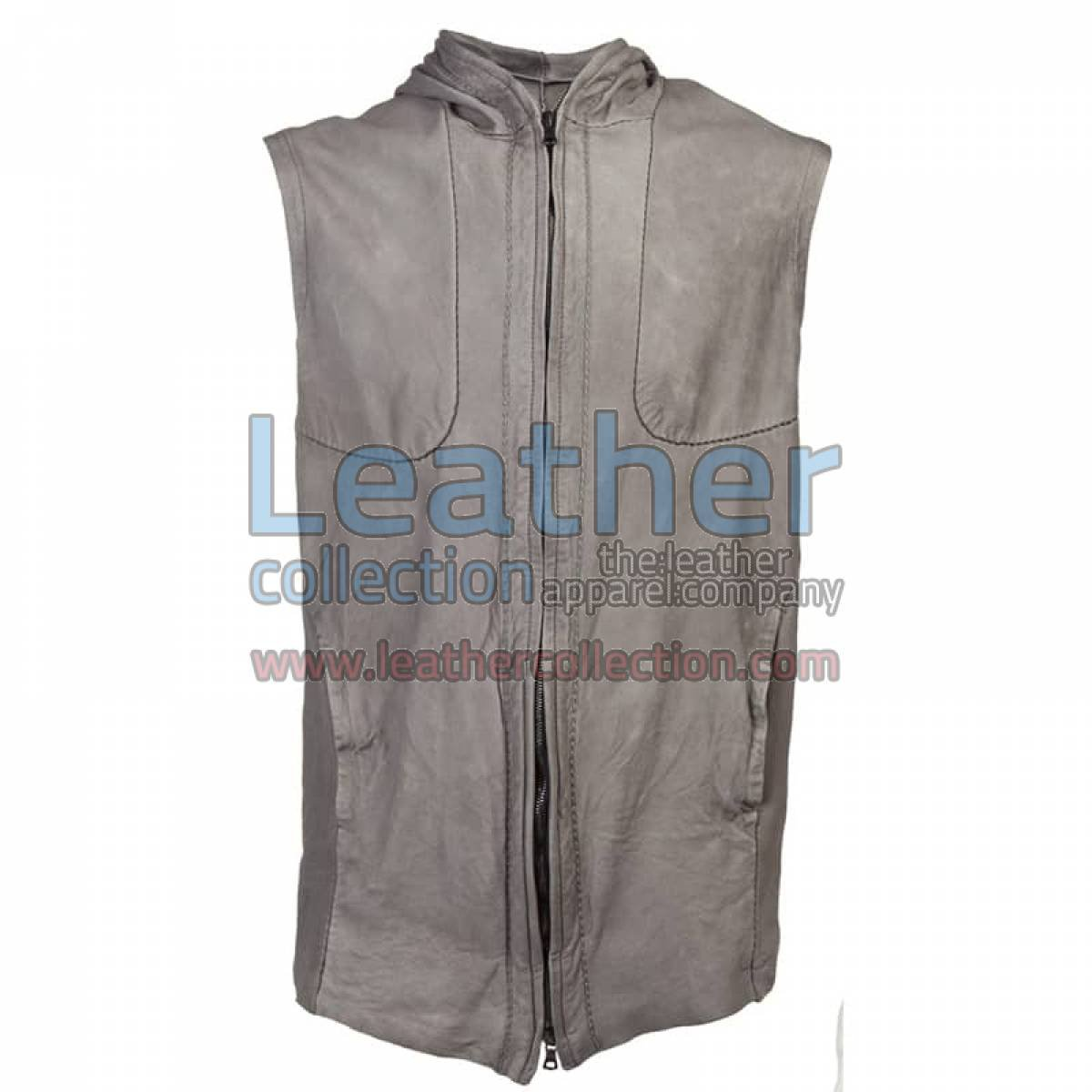 Fashion Hooded Leather Vest