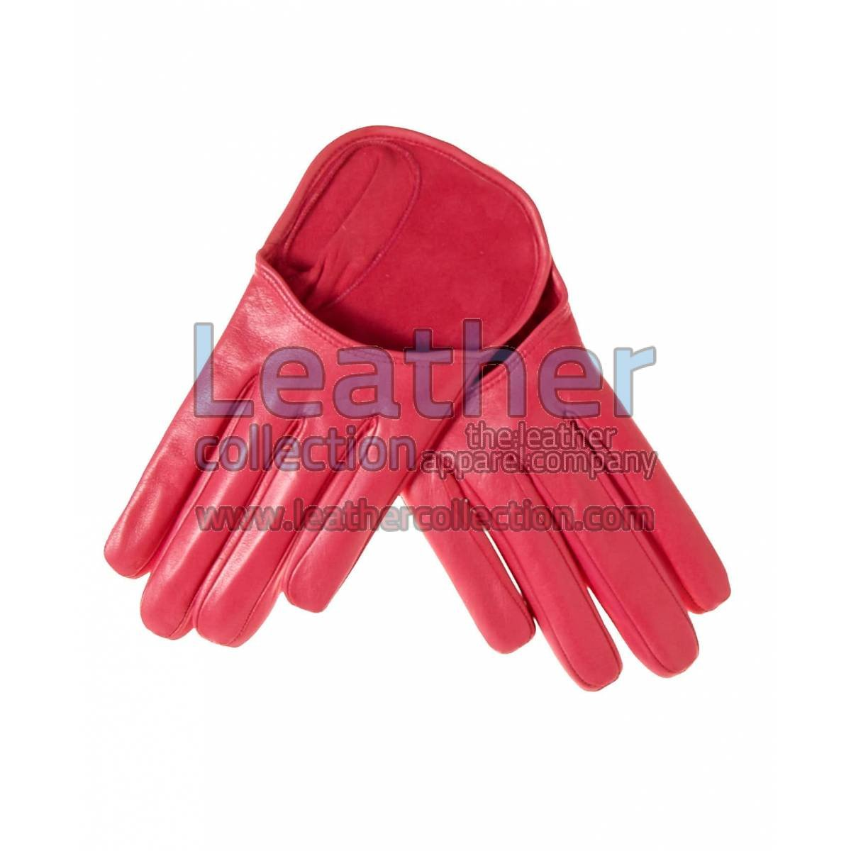 Fashion Short Pink Leather Gloves