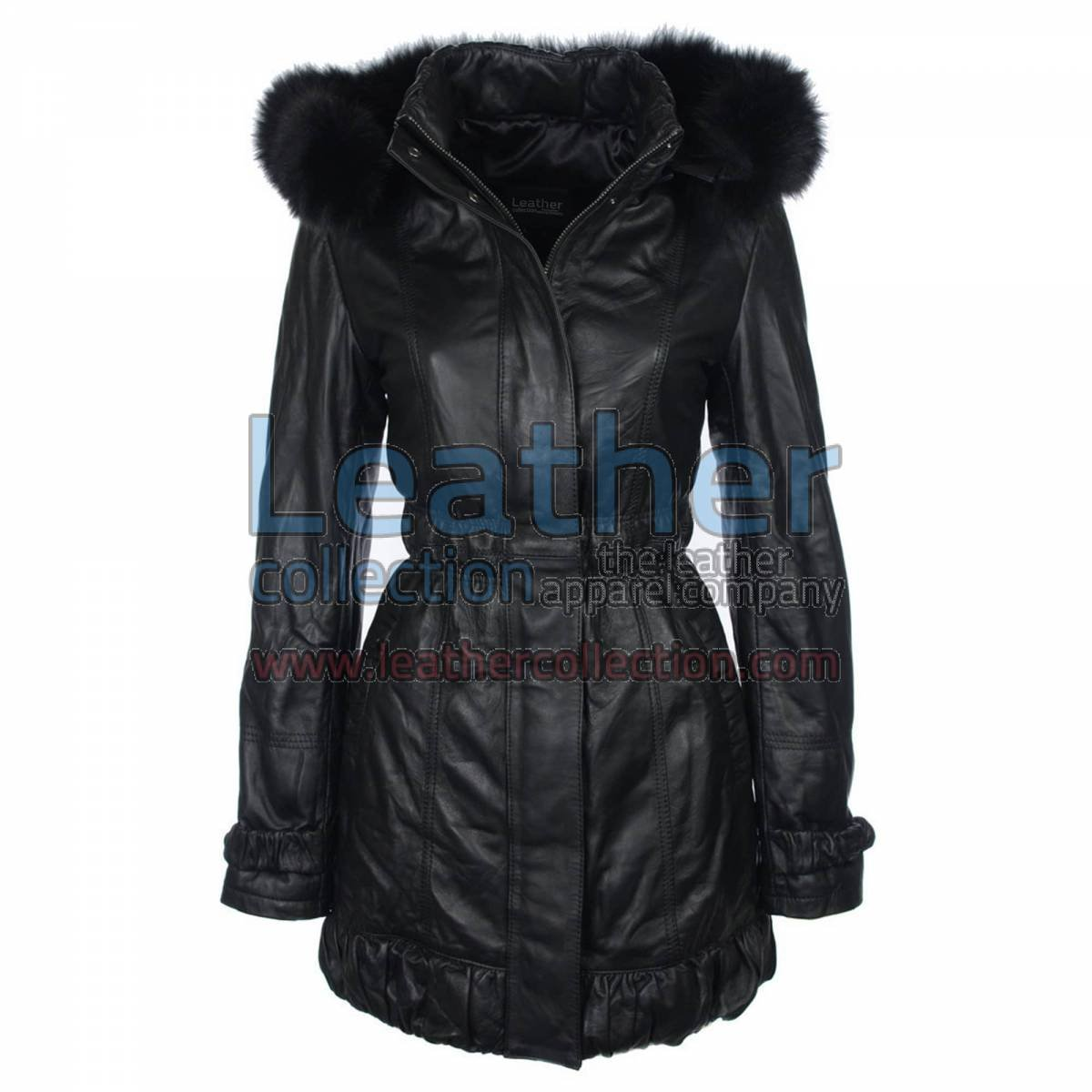 Fur Hooded Leather Coat for Ladies