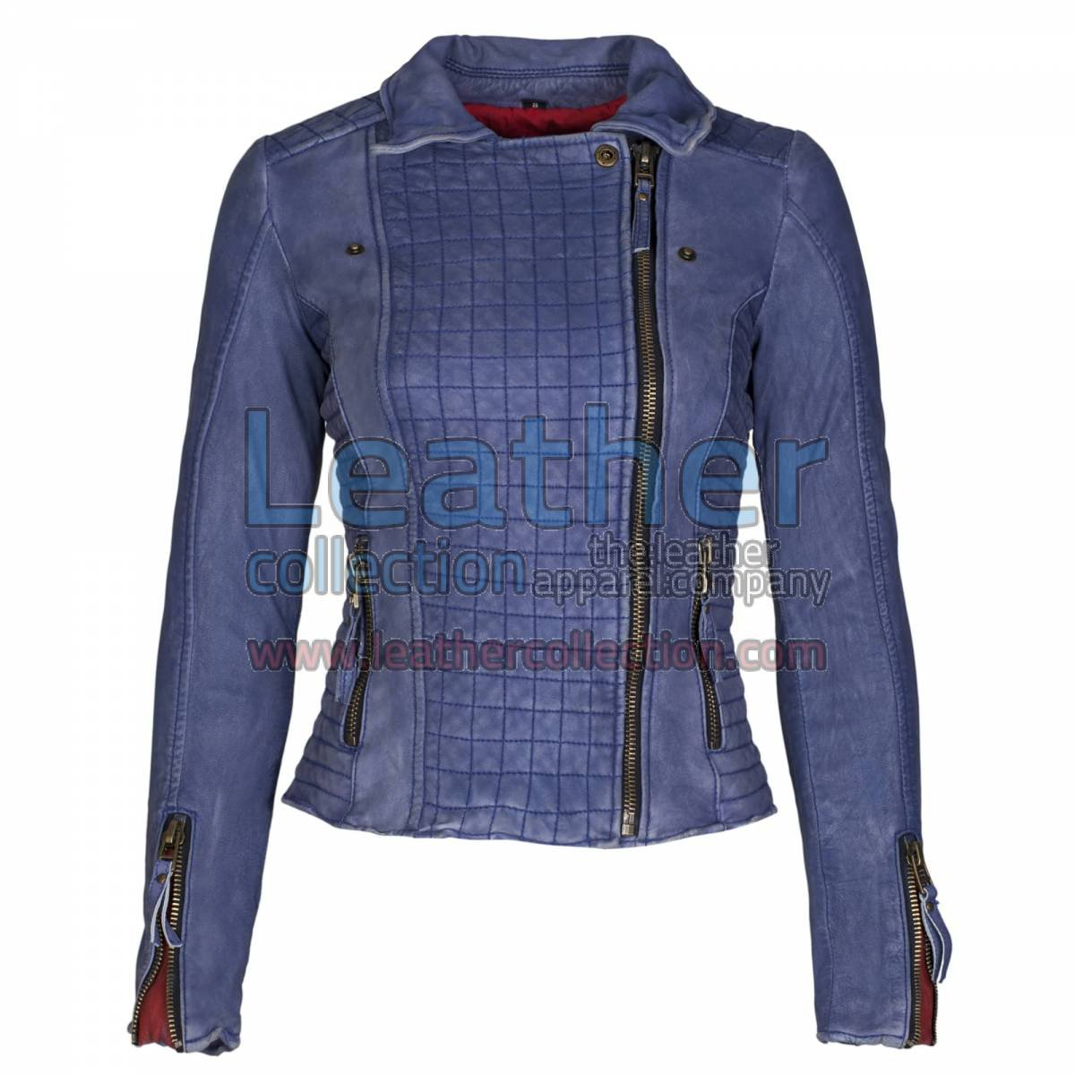 Heritage Ladies Blue Fashion Leather Jacket