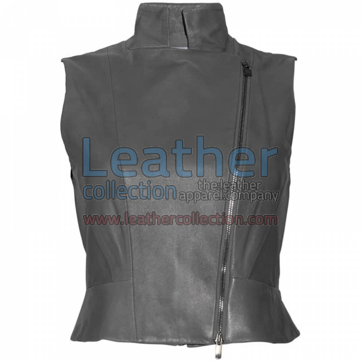 High Neck Fashion Leather Vest