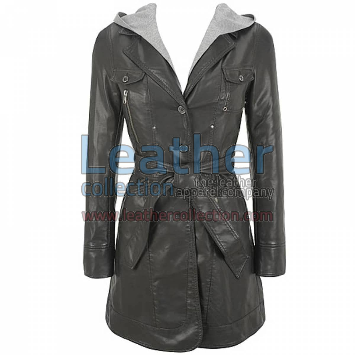 Hooded Leather 3/4 Length Coat Womens
