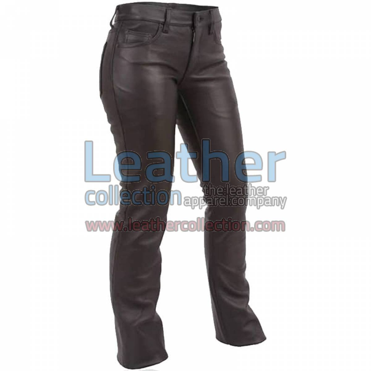 Jeans Style Low Rise Leather Pants