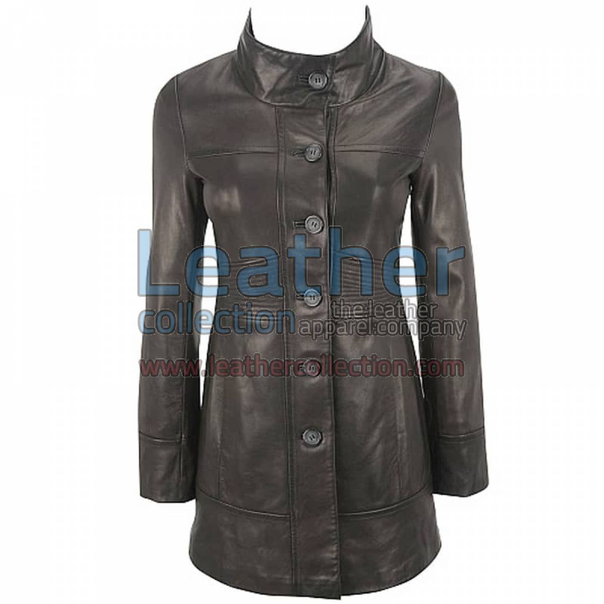 Ladies 3/4 Length Coat With Trapunto Stitched Waist