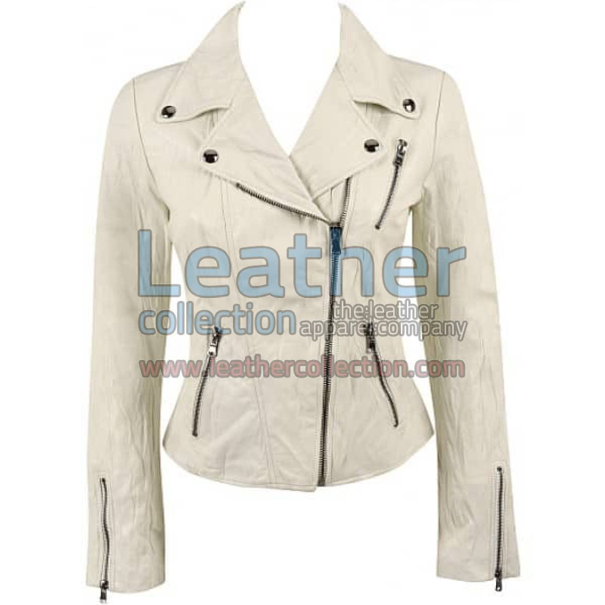Ladies Brando Style Crinkle Casual Leather Jacket