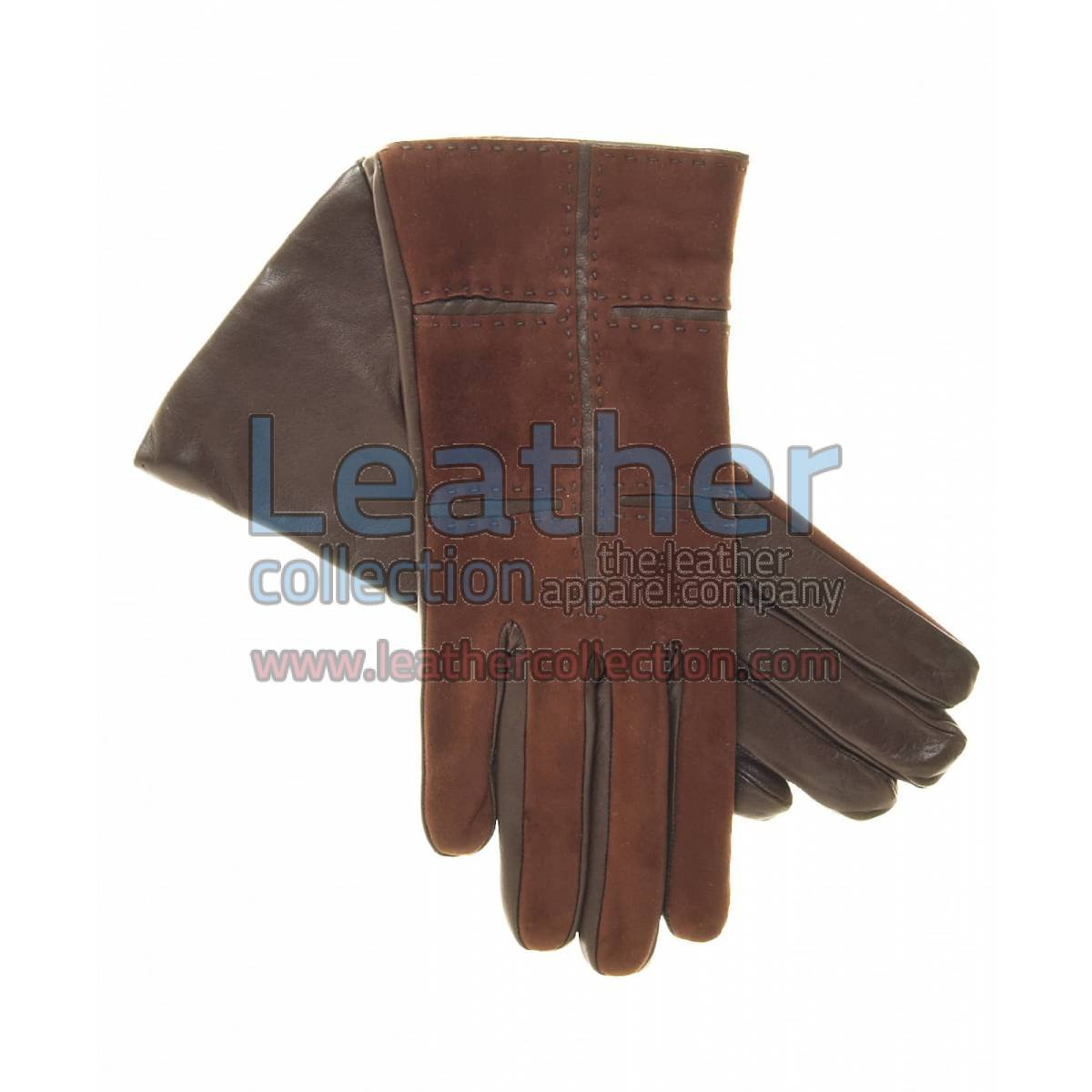 Ladies Brown Suede and Lamb Leather Gloves