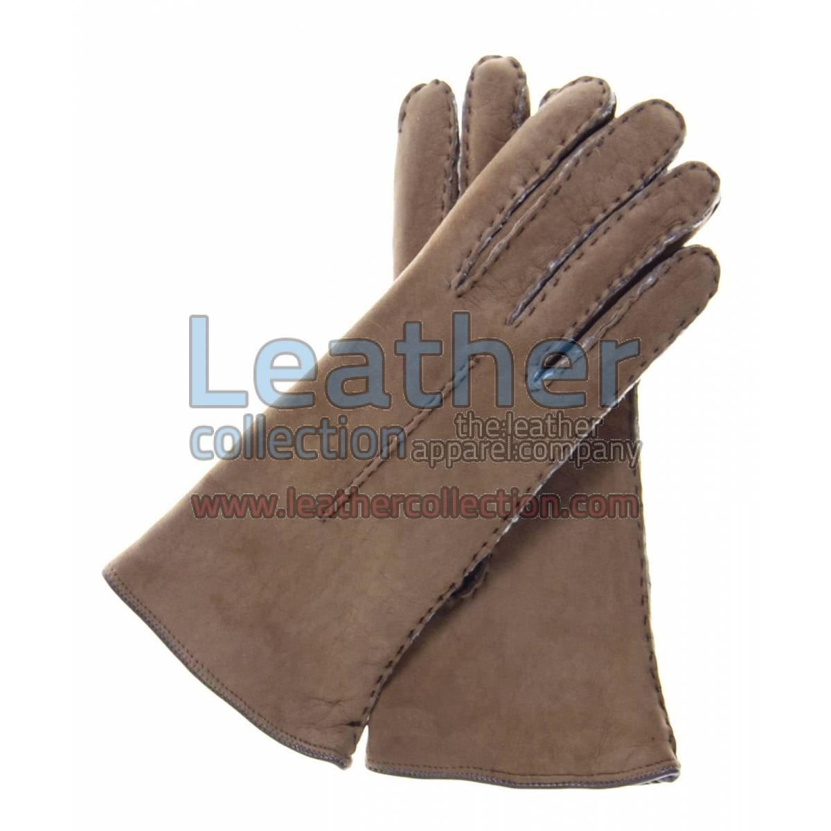 Ladies Brown Suede Lamb Shearling Gloves