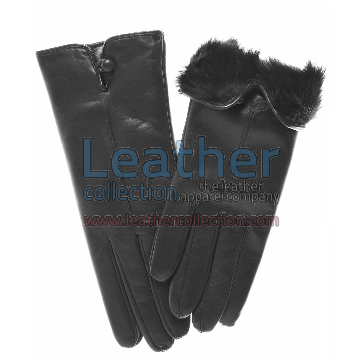 Ladies Fur Lined Gloves Black