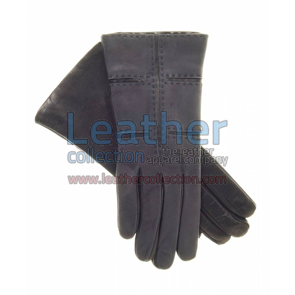 Ladies Grey Suede and Lamb Leather Gloves