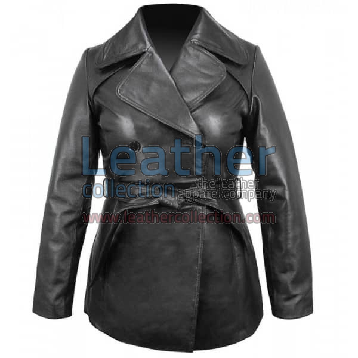 Ladies Leather Belted Pea Coat