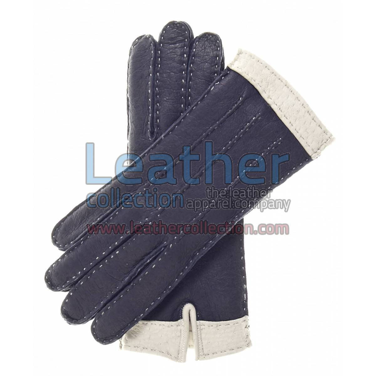 Ladies Navy Cashmere Wool Lined Lambskin Gloves