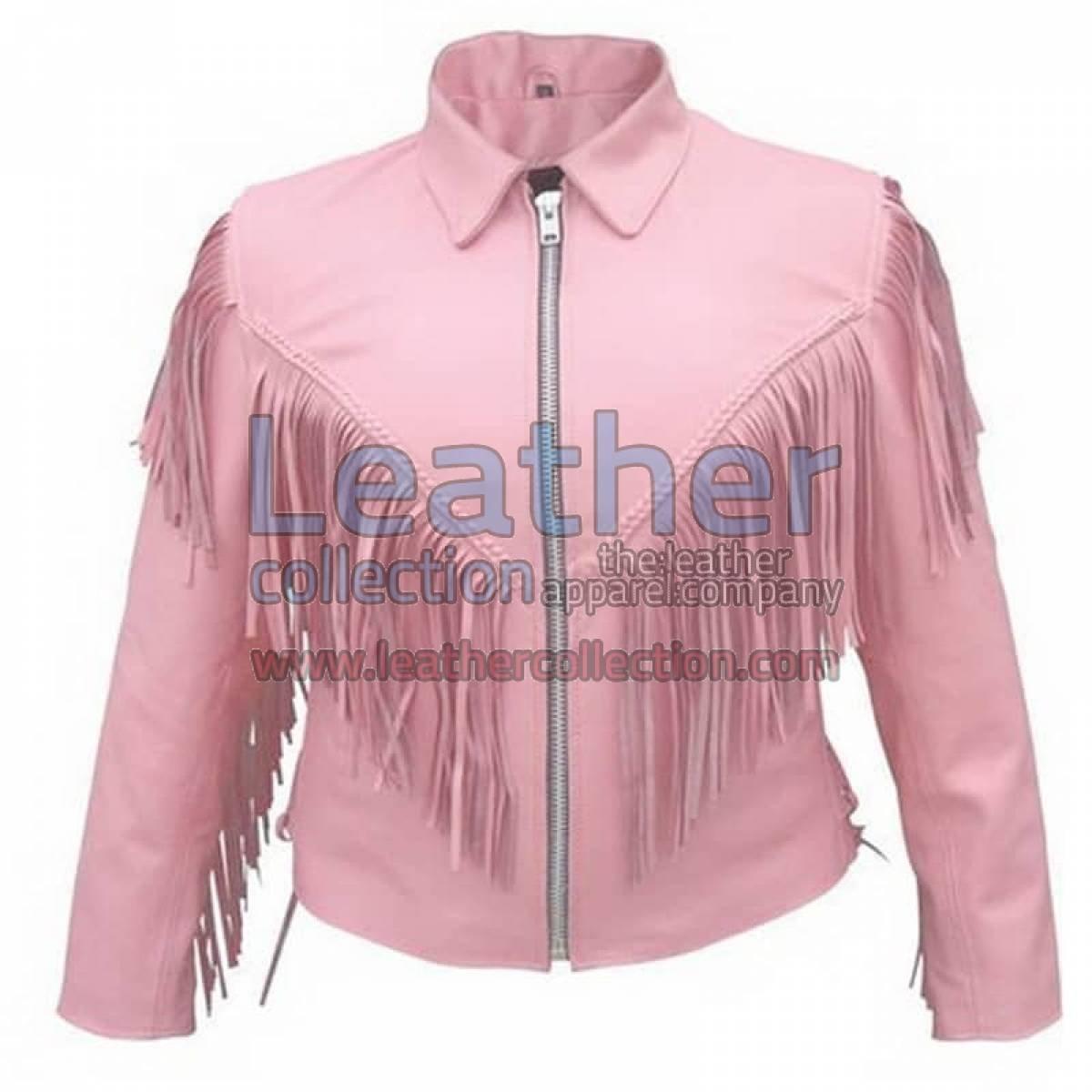 Ladies Pink Jacket With Fringe
