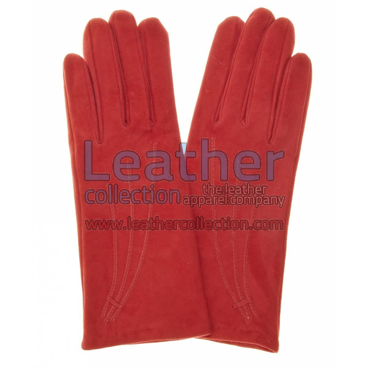 Ladies Red Suede Gloves with Casmhere Lining