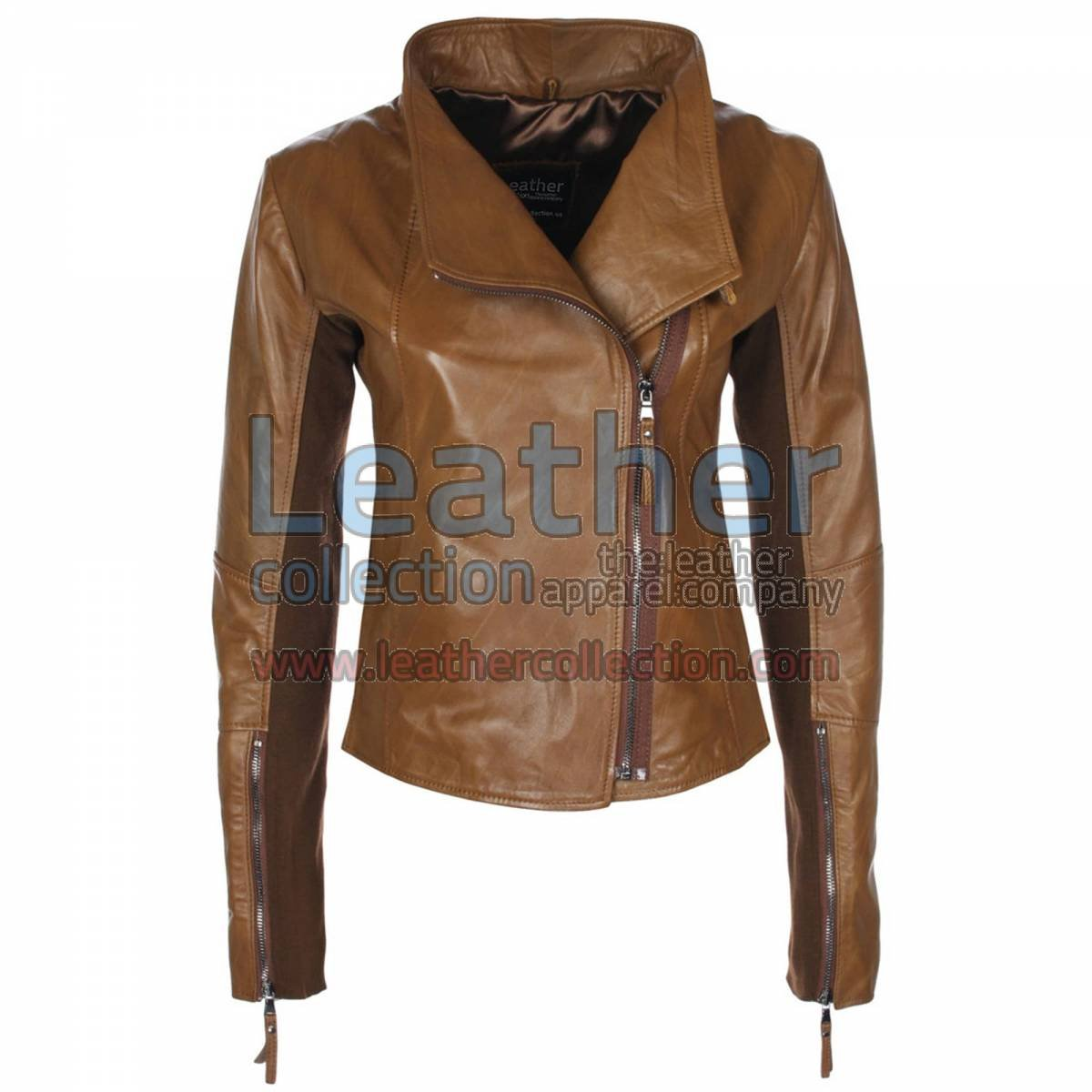 Ladies Sovereign Leather Jacket Antique Brown