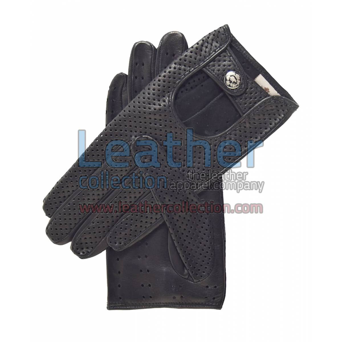 Ladies Summer Ventilated Black Driving Gloves