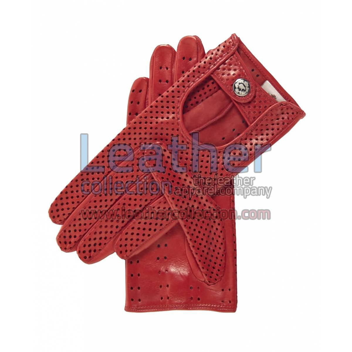 Ladies Summer Ventilated Red Driving Gloves