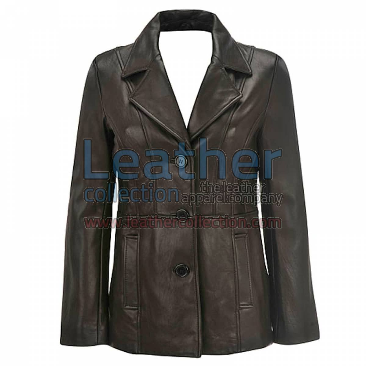 Leather 3 Button Blazer For Women
