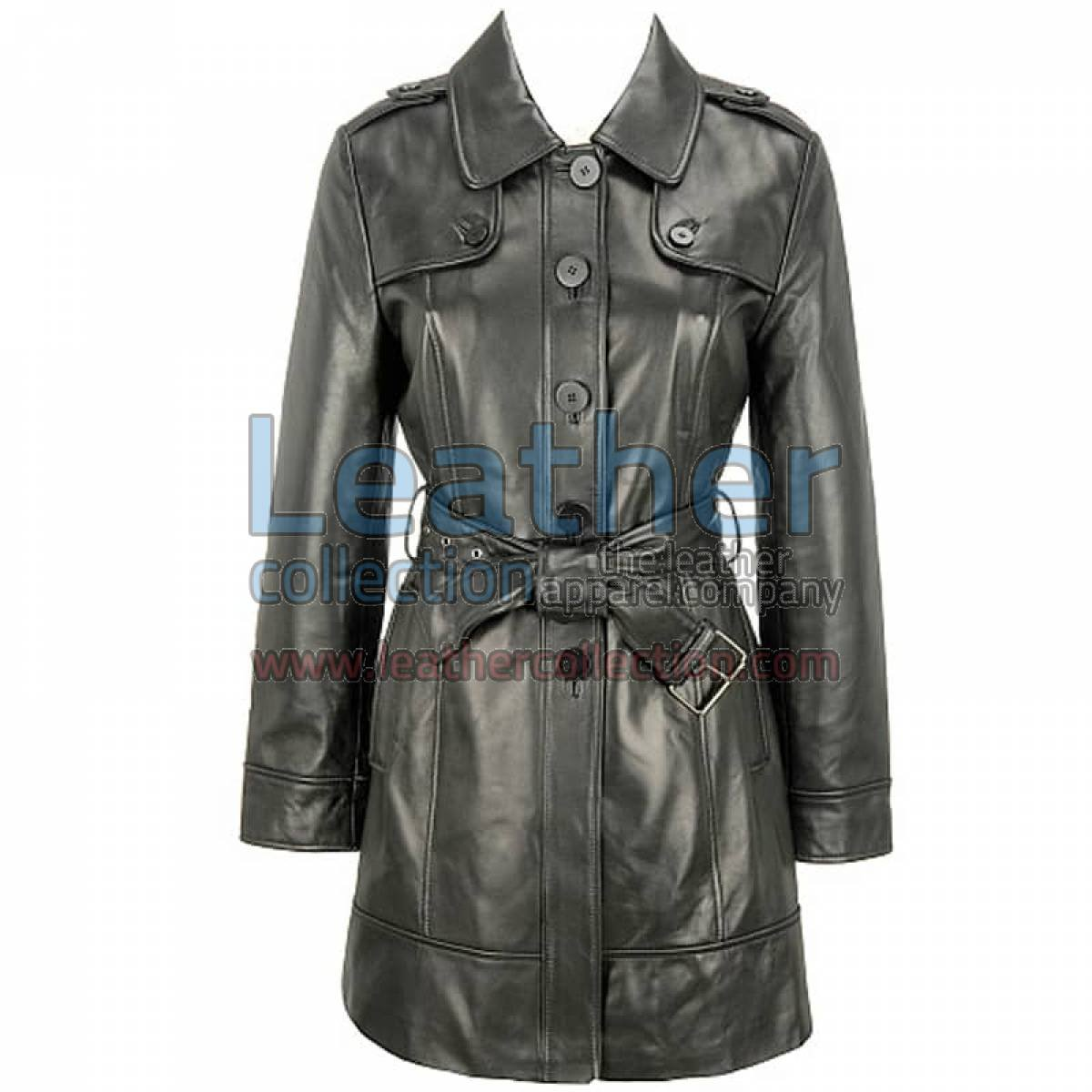 Leather 3/4 Length Asymmetrical Coat