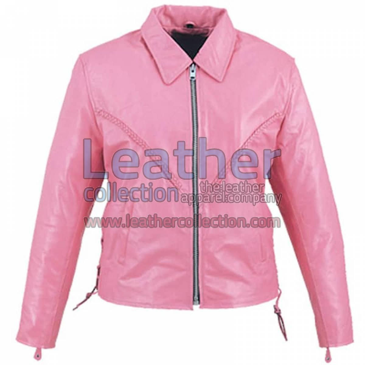 Leather Braided Pink Ladies Jacket