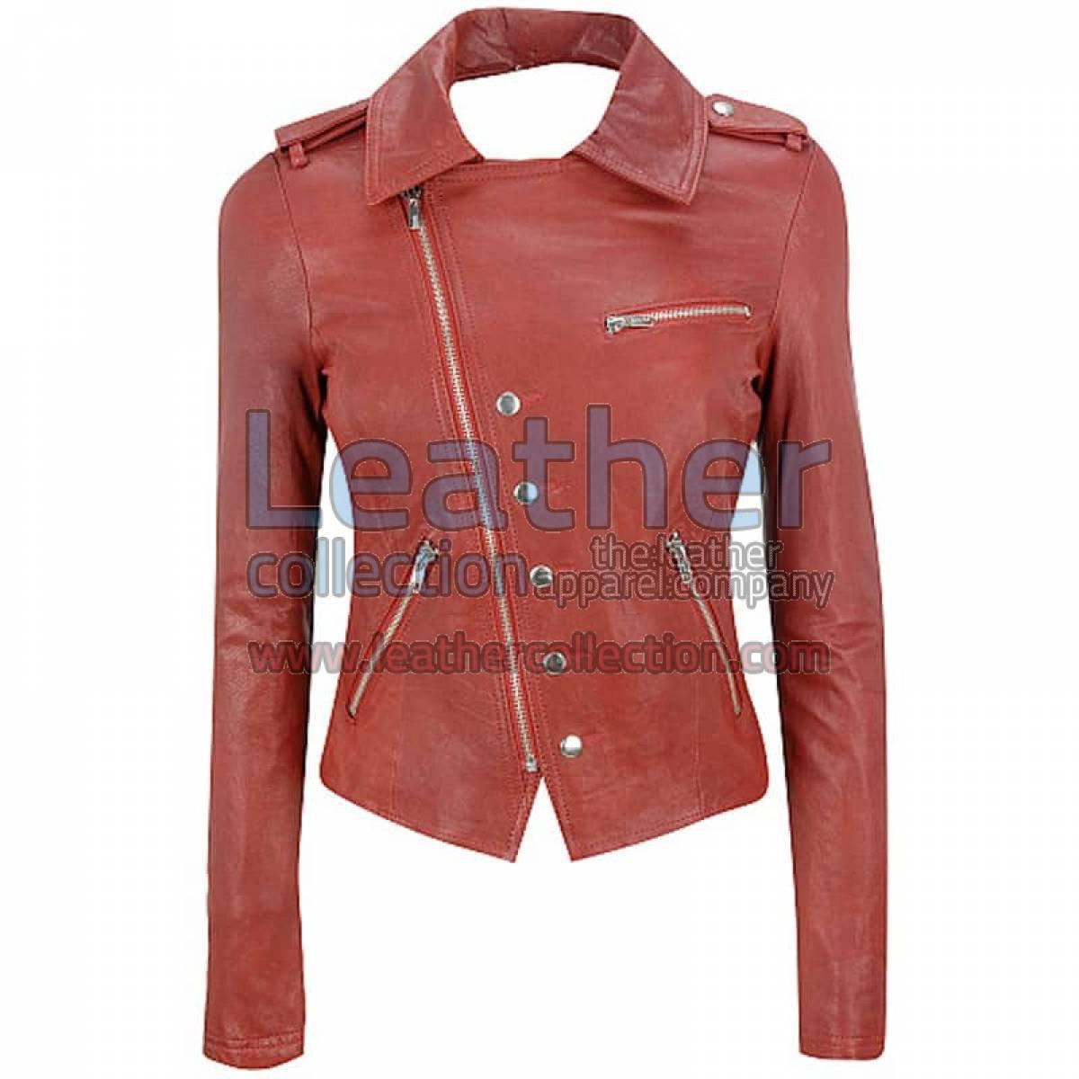 Leather Cutaway Asymmetrical Leather Jacket Womens