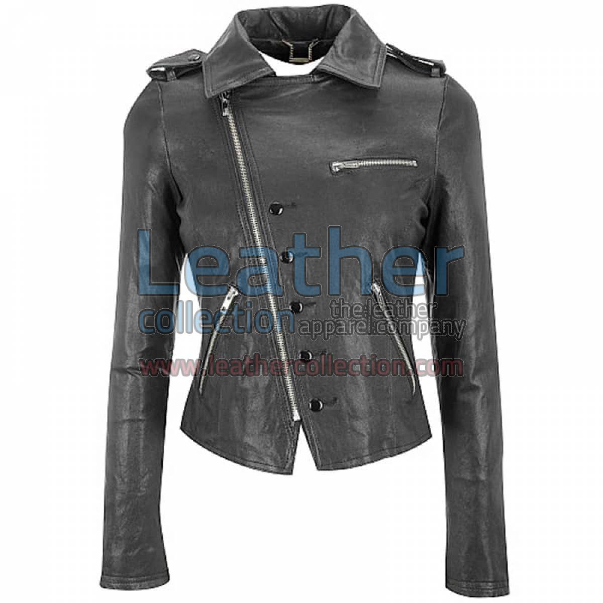 Leather Cutaway Black Asymmetrical Jacket