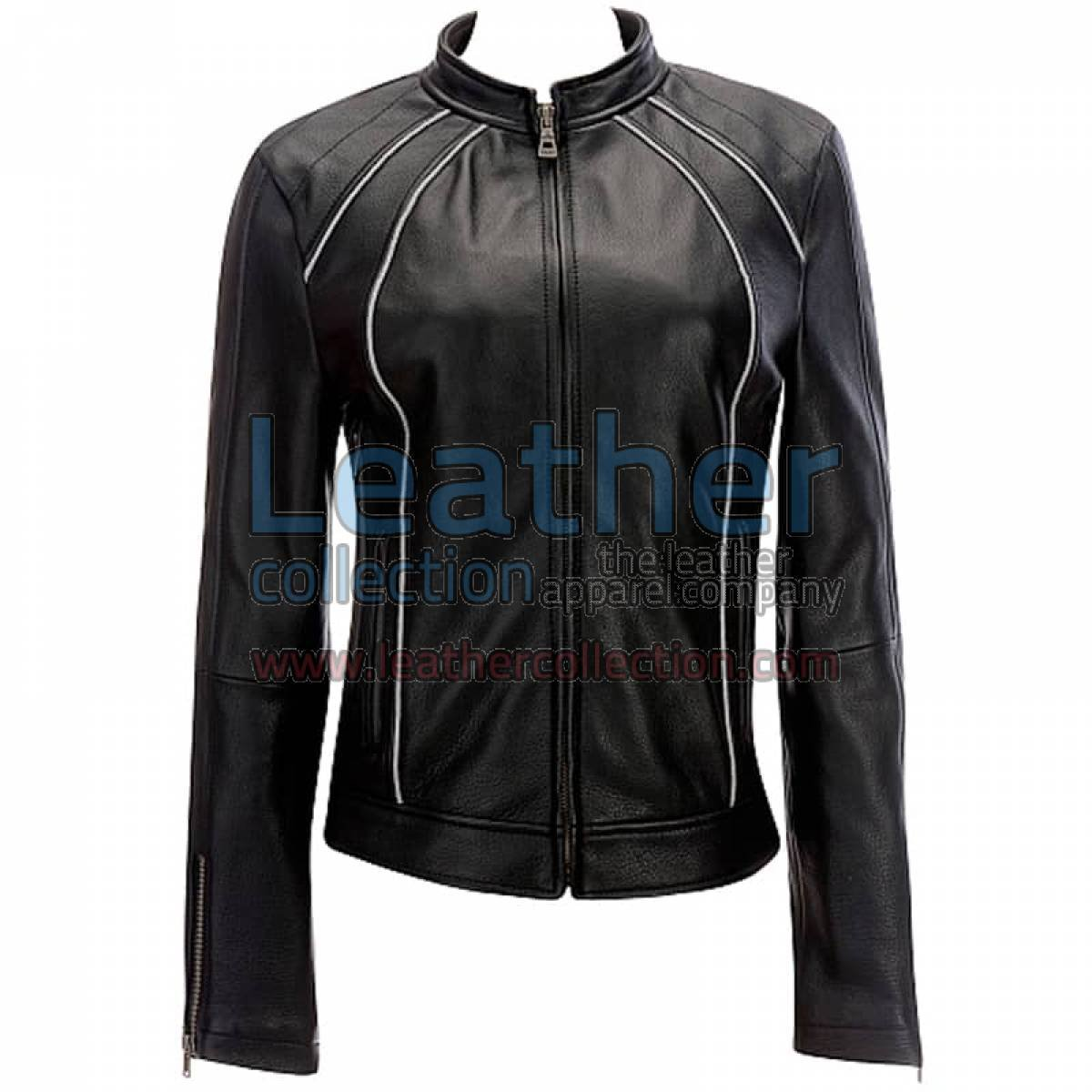 Leather Ladies Jacket With Piping
