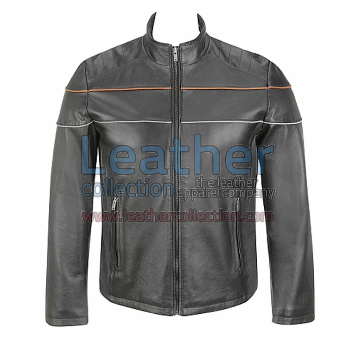 Leather Moto Jacket With Piping On Chest
