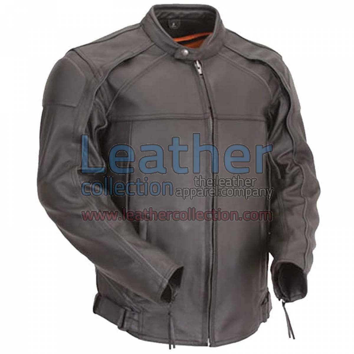 Leather Motorcycle Jacket with Reflective Piping