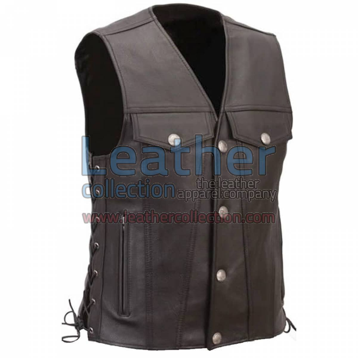 Leather Motorcycle Vest with Buffalo Nickel Snaps