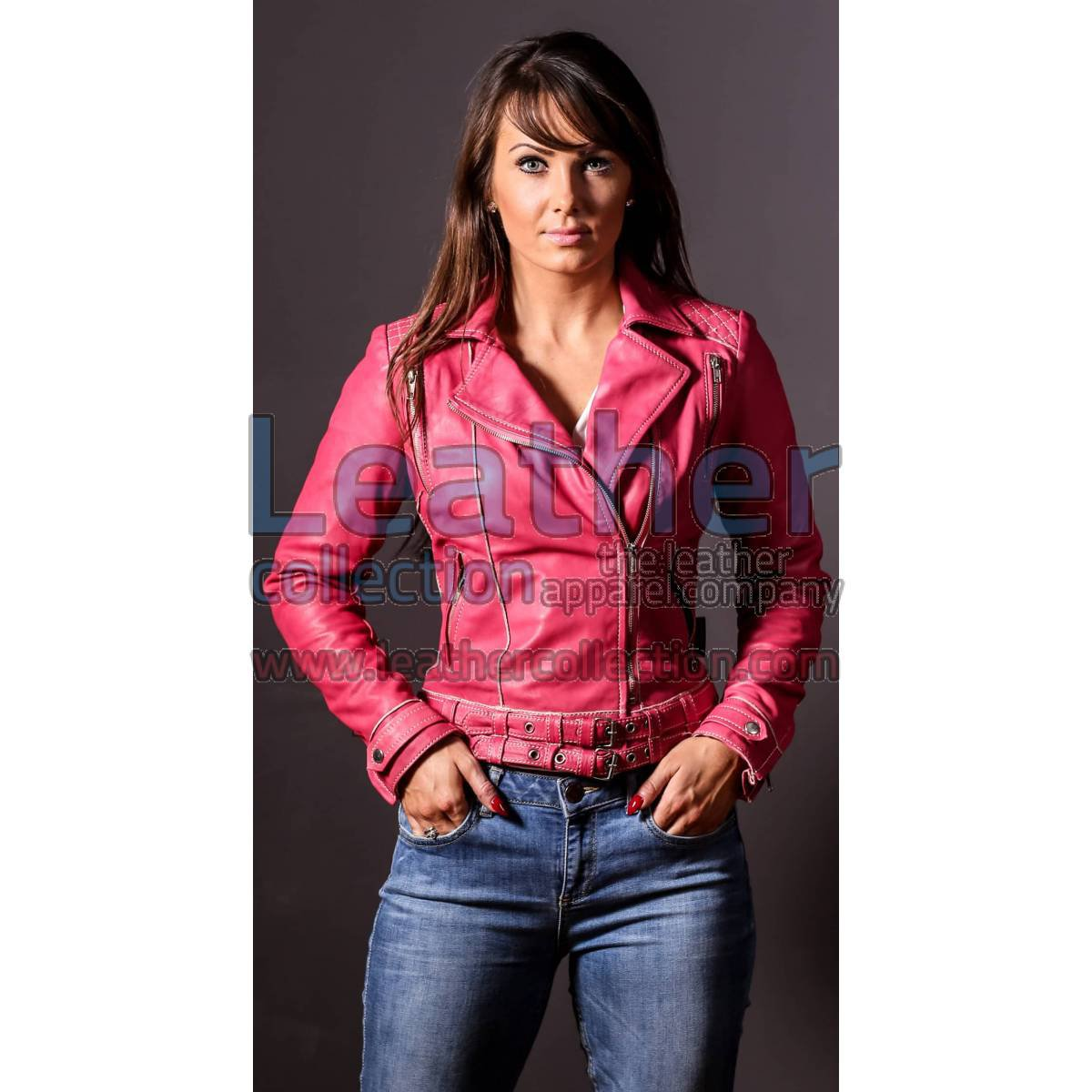 Leather Pink Women Jacket